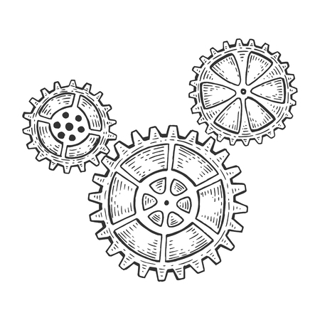 Gear mechanism sketch engraving vector illustration. Scratch board style imitation. Hand drawn image.