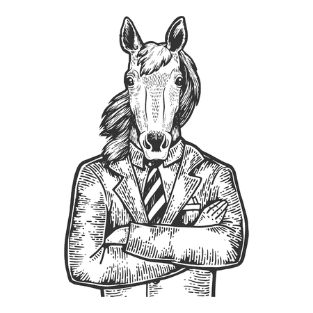 Horse head businessman sketch engraving vector illustration. Scratch board style imitation. Black and white hand drawn image.