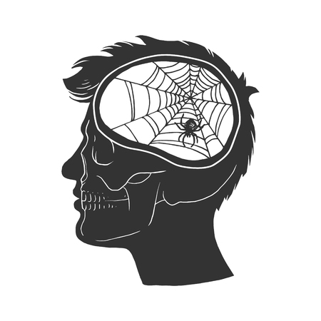Man with no brain vintage sketch engraving vector illustration. Scratch board style imitation. Black and white hand drawn image.