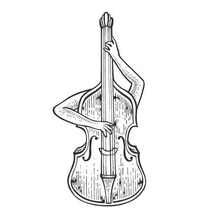 Double bass violin alto cello string instrument plays on itself sketch engraving vector illustration. Scratch board style imitation. Black and white hand drawn image.