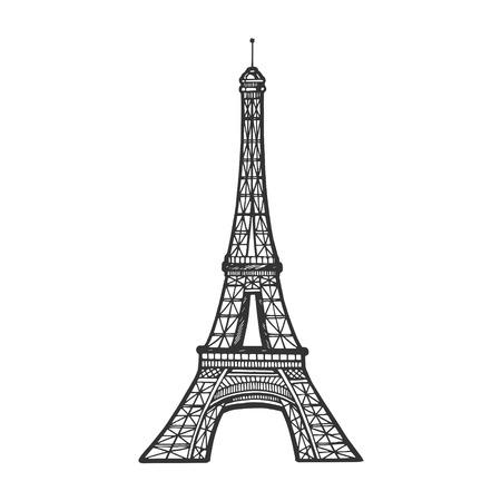 Tour Eiffel croquis gravure illustration vectorielle. Imitation de style planche à gratter. Image dessinée à la main en noir et blanc.