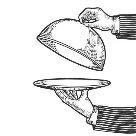 Assiette à vaisselle avec cloche et illustration vectorielle de gravure de croquis de nourriture invisible. Imitation de style planche à gratter. Image dessinée à la main en noir et blanc. Vecteurs