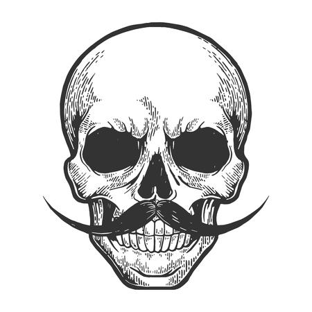 Crâne humain croquis gravure illustration vectorielle. Imitation de style planche à gratter. Image dessinée à la main.