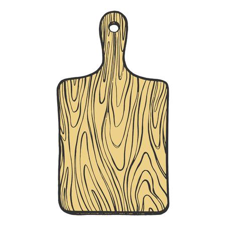 Planche à découper en bois couleur croquis gravure illustration vectorielle. Imitation de style planche à gratter. Image dessinée à la main.