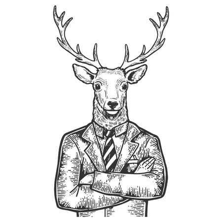 Deer head businessman sketch engraving vector illustration. Scratch board style imitation. Black and white hand drawn image.