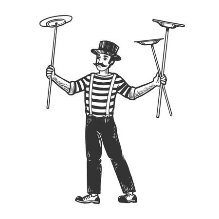 Circus juggler balancing plates on sticks performance sketch engraving vector illustration. Scratch board style imitation. Black and white hand drawn image.