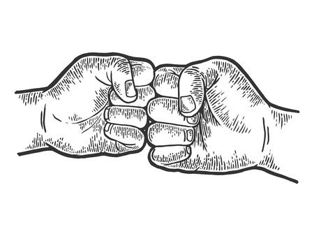 Ilustración de vector de grabado de dibujo de saludo de puño. Imitación de tablero de rascar. Imagen dibujada a mano en blanco y negro. Ilustración de vector