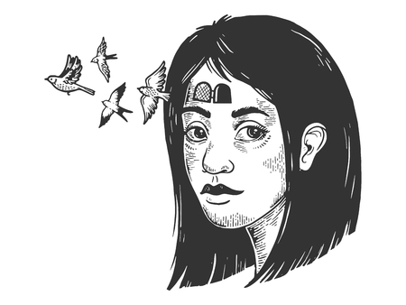 Birds fly out of girl forehead sketch engraving vector illustration. Scratch board style imitation. Hand drawn image.