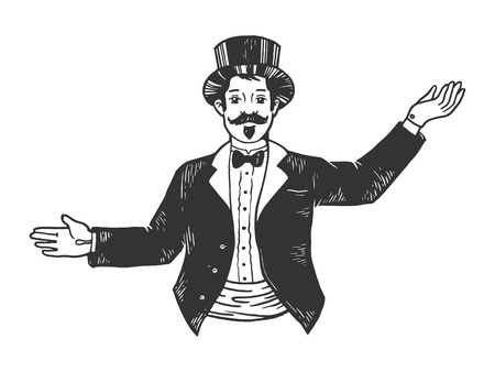Circus theatrical Master of ceremonies entertainer sketch engraving vector illustration. Scratch board style imitation. Black and white hand drawn image. Illustration