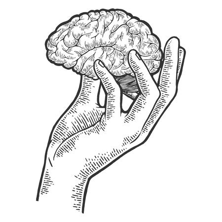 Cerebro humano en la mano dibujo grabado ilustración vectorial. Imitación de tablero de rascar. Imagen dibujada a mano en blanco y negro.