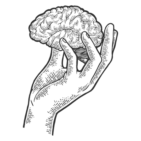 Menschliches Gehirn in der Hand skizzieren Gravur Vektor-Illustration. Nachahmung im Scratchboard-Stil. Handgezeichnetes Schwarz-Weiß-Bild.