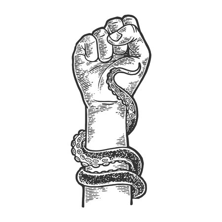 Octopus tentacle wrapped around human arm sketch engraving vector illustration. Scratch board style imitation. Black and white hand drawn image.