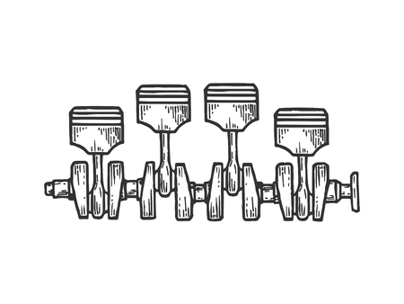 Engine car motor pistons on crankshaft sketch engraving vector illustration. Scratch board style imitation. Black and white hand drawn image. Vector Illustration