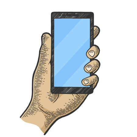 Smart phone in hand color sketch engraving vector illustration. Scratch board style imitation. Hand drawn image. Illusztráció