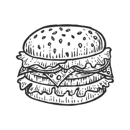 Sándwich de hamburguesa hamburguesa boceto grabado ilustración vectorial. Imitación de tablero de rascar. Imagen dibujada a mano en blanco y negro. Ilustración de vector