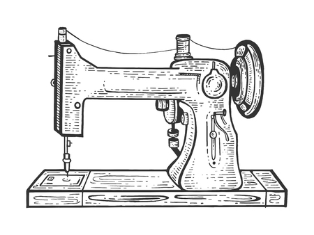 Old mechanic sewing machine sketch engraving vector illustration. Scratch board style imitation. Black and white hand drawn image. Векторная Иллюстрация