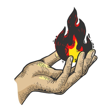 Fire in hand color sketch engraving vector illustration. Scratch board style imitation. Black and white hand drawn image.