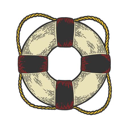 Life buoy color sketch engraving vector illustration. Scratch board style imitation. Hand drawn image. Stok Fotoğraf - 122717166