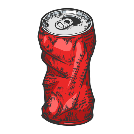 Rumpled metal can color sketch engraving vector illustration. Scratch board style imitation. Hand drawn image. Ilustrace