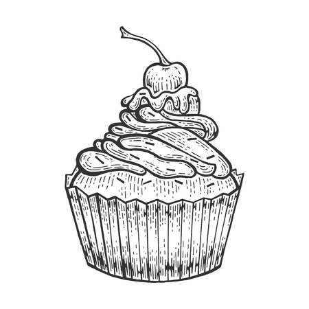 Cake sweet bakery product sketch engraving vector illustration. Scratch board style imitation. Black and white hand drawn image. Foto de archivo - 122655787