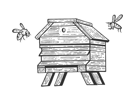 Bee hive and bees sketch engraving vector illustration. Scratch board style imitation. Hand drawn image.