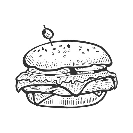 Hamburger sandwich sketch vector