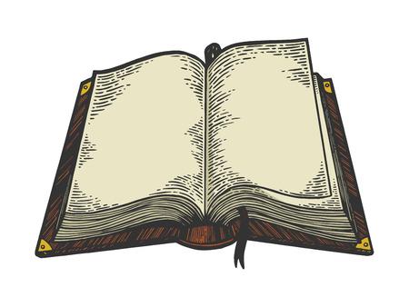 Offenes Buch Farbskizze Gravur Vektor-Illustration. Nachahmung im Scratchboard-Stil. Handgezeichnetes Schwarz-Weiß-Bild.
