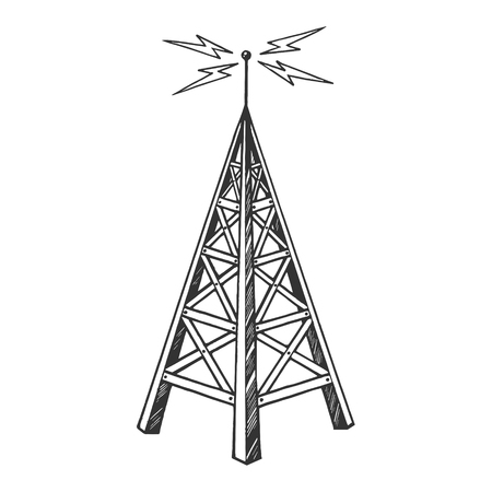Old vintage radio tower broadcast transmitter sketch engraving vector illustration. Scratch board style imitation. Black and white hand drawn image.
