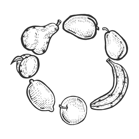 Fruits vegan food sketch engraving vector illustration. Scratch board style imitation. Black and white hand drawn image.