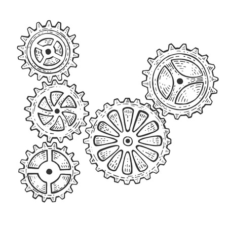 Gear mechanism sketch engraving vector illustration. Scratch board style imitation. Hand drawn image. 向量圖像