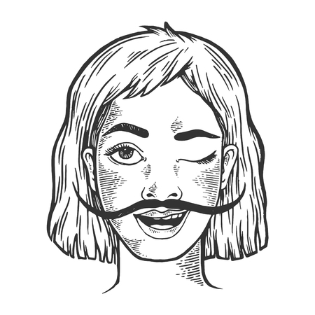 Happy young winking woman with long mustache sketch engraving vector illustration. Scratch board style imitation. Hand drawn image.