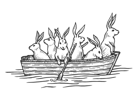 Hare rabbit animals in boat sketch engraving vector illustration. Scratch board style imitation. Black and white hand drawn image.