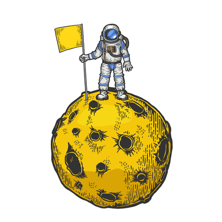 Astronaut spaceman with flag on planet with impact craters color sketch engraving vector illustration. Scratch board style imitation. Black and white hand drawn image. Illustration