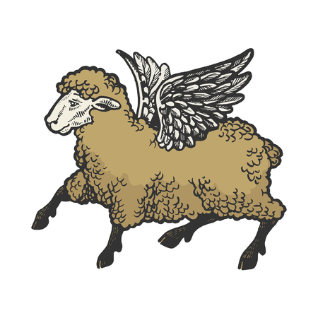 Angel flying sheep color sketch engraving vector illustration. Scratch board style imitation. Black and white hand drawn image. Иллюстрация