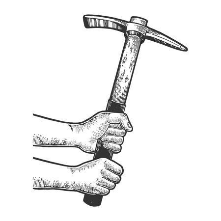 Hands with pick pickaxe tool sketch engraving vector illustration. Scratch board style imitation. Black and white hand drawn image.