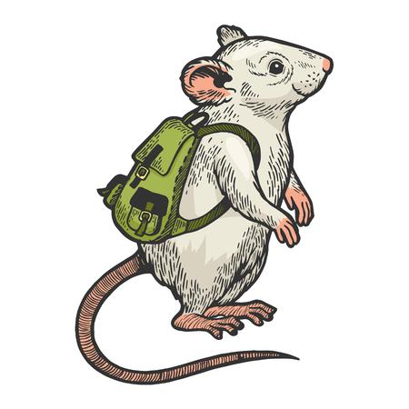 Souris de dessin animé avec illustration vectorielle de sac à dos couleur croquis gravure. Imitation de style planche à gratter. Image dessinée à la main en noir et blanc. Vecteurs