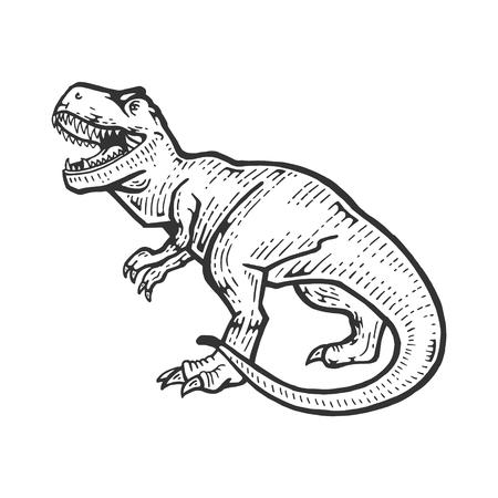 Tyrannosaur dinosaur sketch engraving vector illustration. Scratch board style imitation. Hand drawn image.
