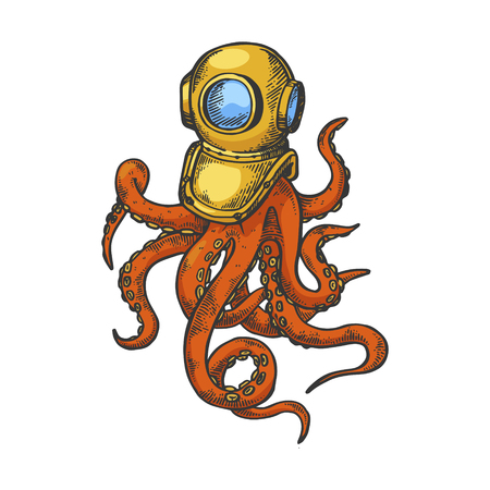 Octopus and old diver helmet color sketch engraving vector illustration. Scratch board style imitation. Black and white hand drawn image. Фото со стока - 122323863