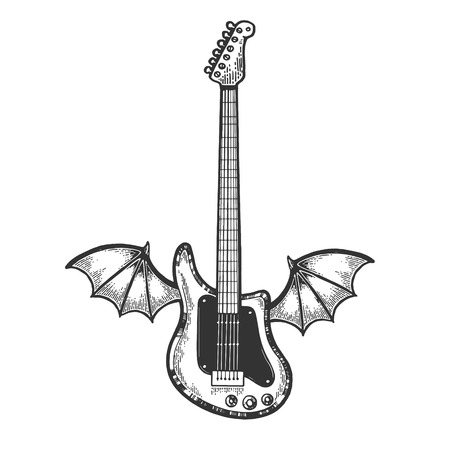 Flying Electric guitar with bat wings sketch engraving vector illustration. Scratch board style imitation. Black and white hand drawn image.