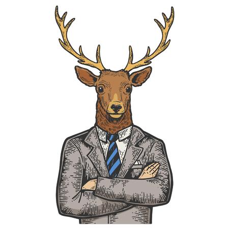 Deer head businessman color sketch engraving vector illustration. Scratch board style imitation. Black and white hand drawn image. Illustration