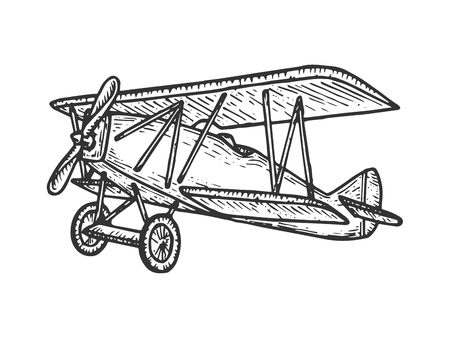 Vintage retro old aircraft sketch engraving vector illustration. Scratch board style imitation. Black and white hand drawn image.