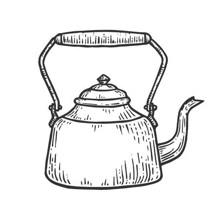 Ancienne théière bouilloire croquis gravure illustration vectorielle. Imitation de style planche à gratter. Image dessinée à la main. Vecteurs
