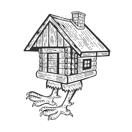 Hut on chicken legs Baba Yagas house fairytale character engraving vector illustration. Scratch board style imitation. Hand drawn image. Illusztráció