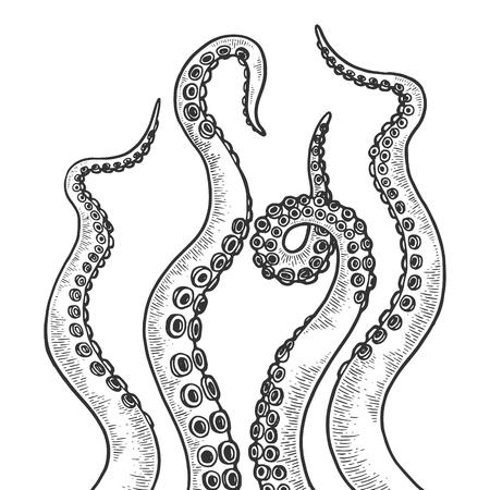 Tentáculo de pulpo set dibujo grabado ilustración vectorial. Imitación de tablero de rascar. Imagen dibujada a mano en blanco y negro.