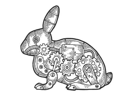 Mecánica liebre conejo animal dibujo grabado ilustración vectorial. Imitación de tablero de rascar. Imagen dibujada a mano en blanco y negro.