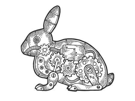 Mechanical Hare rabbit animal sketch engraving vector illustration. Scratch board style imitation. Black and white hand drawn image.