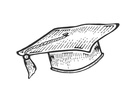 Square academic cap sketch engraving vector illustration. Scratch board style imitation. Black and white hand drawn image.