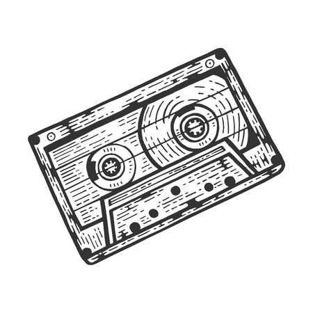 Compact Audio Cassette tape sketch engraving vector illustration. Scratch board style imitation. Black and white hand drawn image.