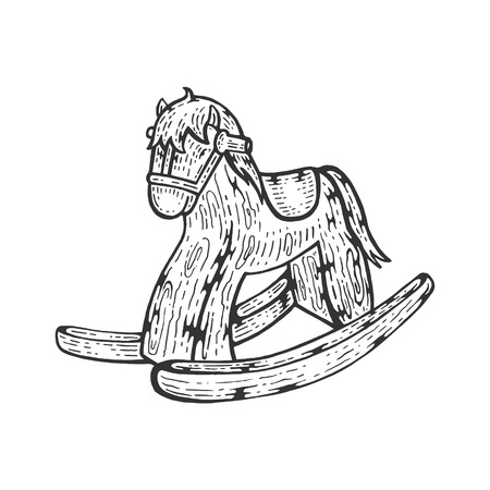 Rocking horse toy sketch engraving vector illustration. Scratch board style imitation. Hand drawn image.