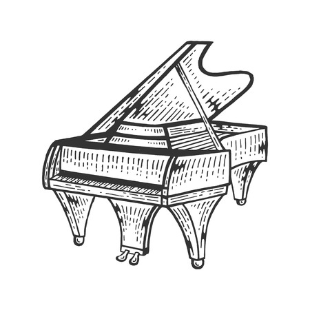 Grand piano string instrument sketch engraving vector illustration. Scratch board style imitation. Black and white hand drawn image.